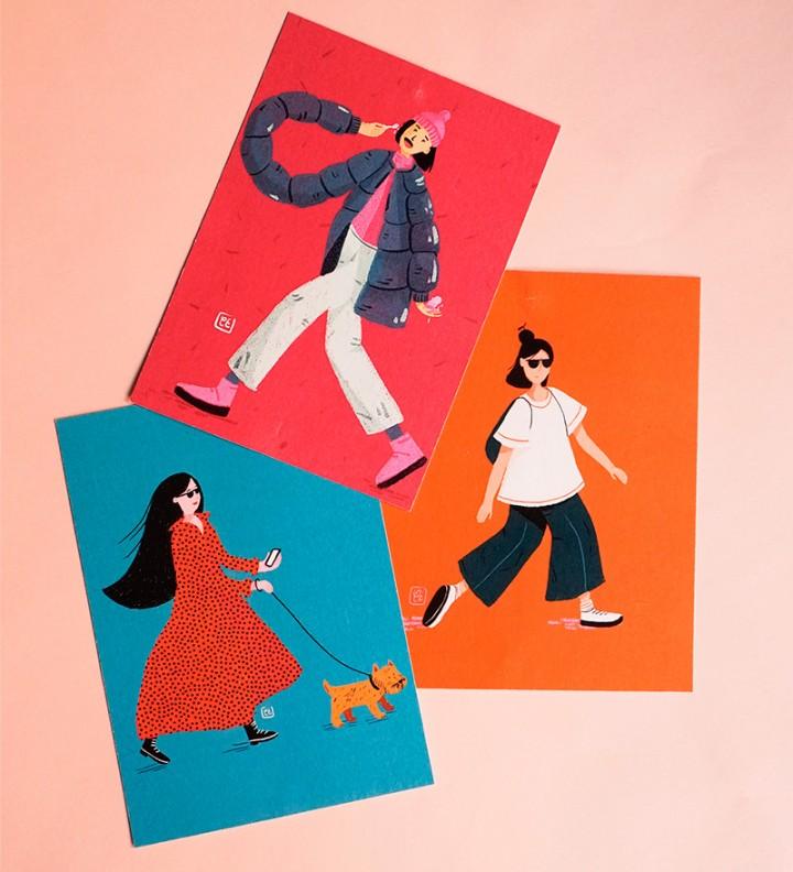 illustration postcard pack Cé-Marina Shop