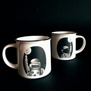 Illustrated ceramic mug astronauta Cé-Marina Shop