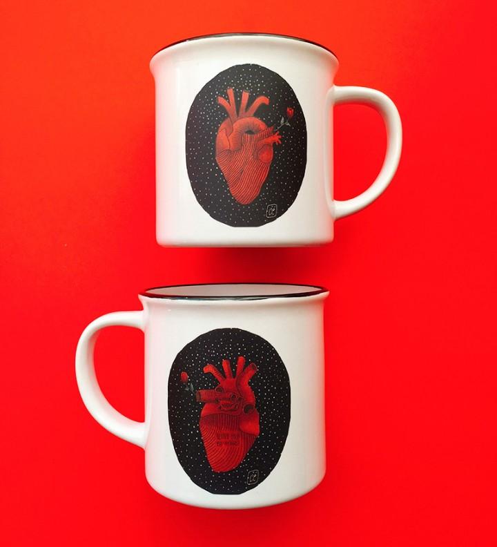 Illustrated ceramic mug heart 2 Cé-Marina Shop